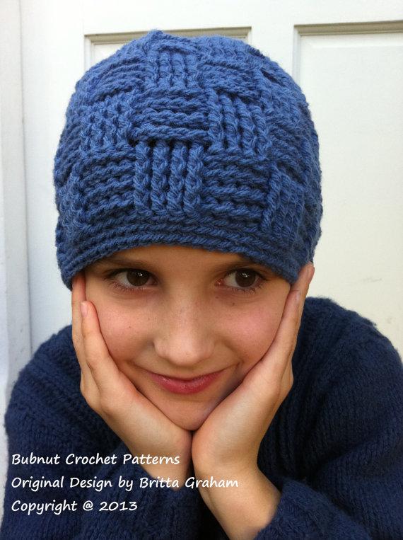 11d44952ecb Boys Crochet Hat Pattern No.124 Basket Weave Baby Toddler Child Kid ...