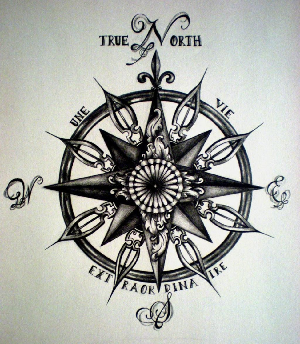 Ancient Compass Rose Tattoo