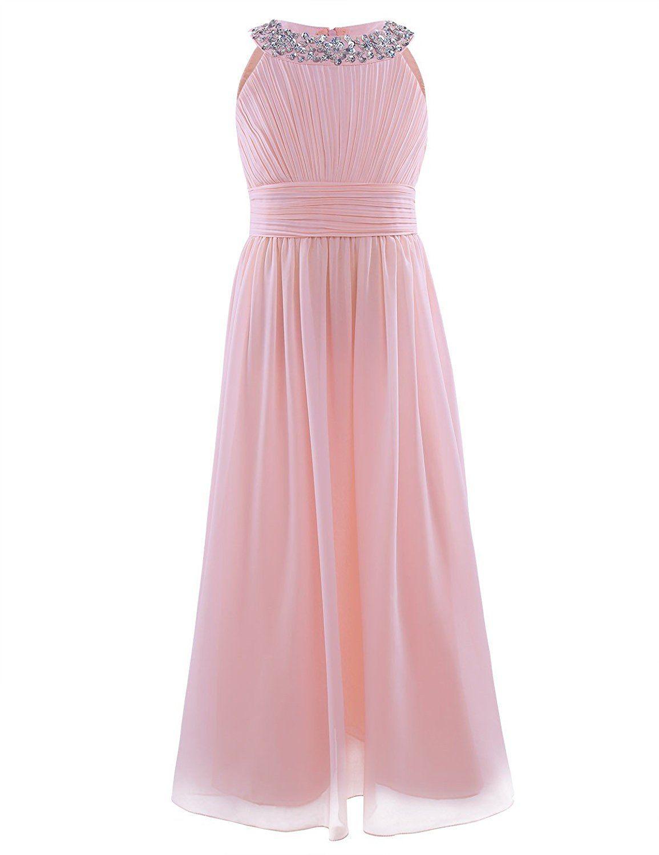 e57794d864f0 YiZYiF Beaded Neck Chiffon Flower Girl Dress Princess Summer Wedding Dance  Ball Prom Evening Gowns