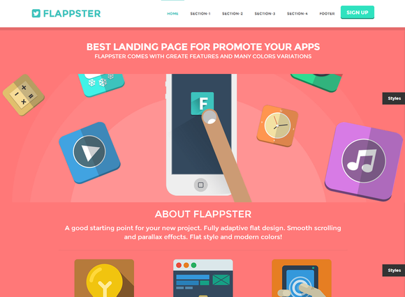 Flappster Bootstrap Flat Landing Website Template Design Best Landing Pages Web Design Projects