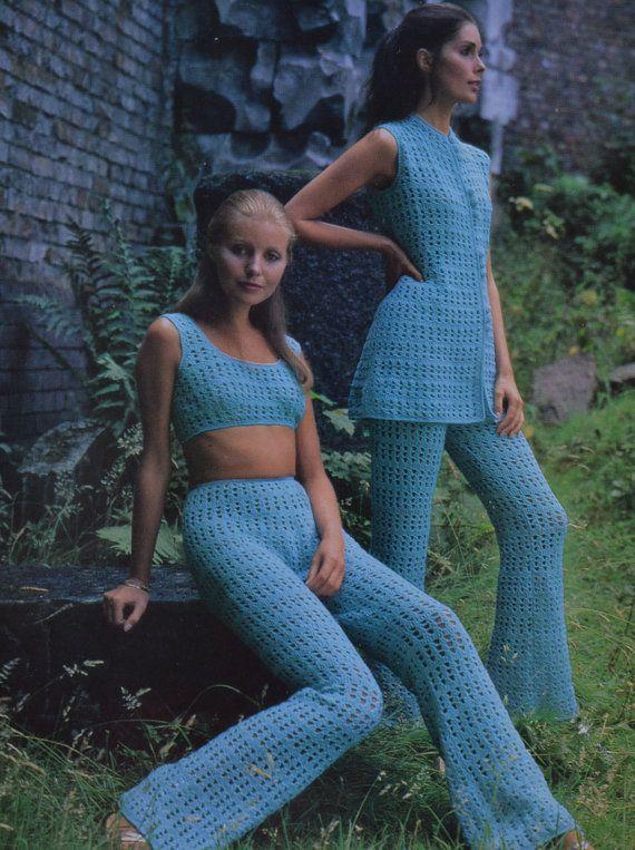 Cute Vintage Top and Shorts Retro Knit Handmade Crochet Set Blouse and Pants Boho Crochet Set Vintage Crop Top Hippie Top and Shorts