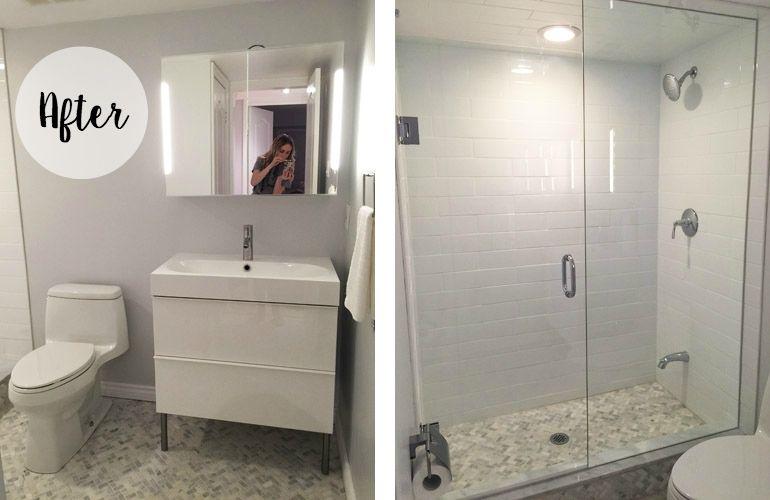 Grey  U0026 White Small Bathroom Renovation