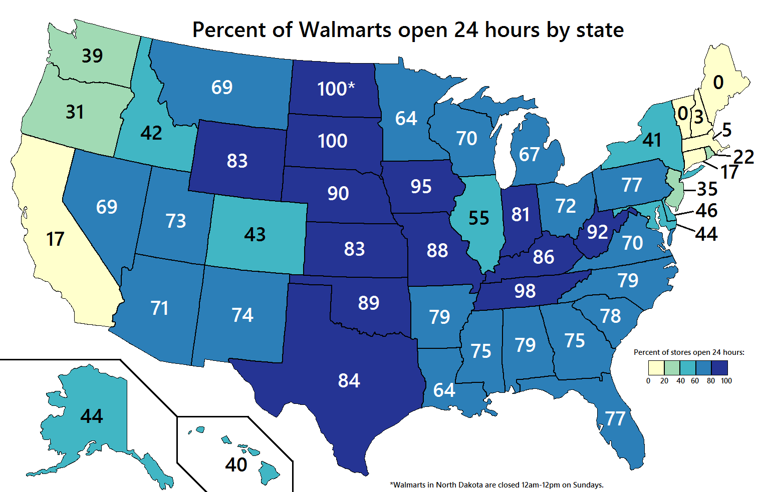 Percent Of Walmart Stores Open Hours By US State United - Walmart us map