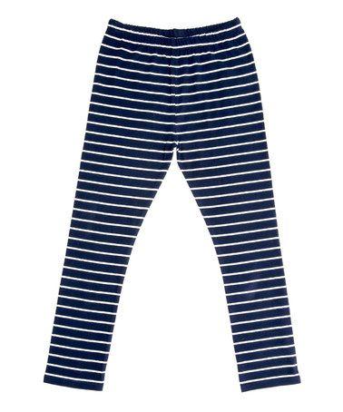This Navy & Ivory Stripe Capri Leggings - Toddler & Girls is perfect! #zulilyfinds