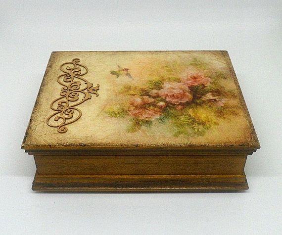 Vintage Style Wooden Jewellery Box Treasure Box Wooden Jewelry Boxes Decoupage Box Cardboard Decor