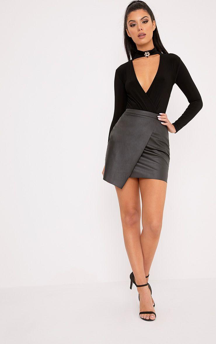 f147e2a2d Black Leather Wrap Mini Skirt   Saddha