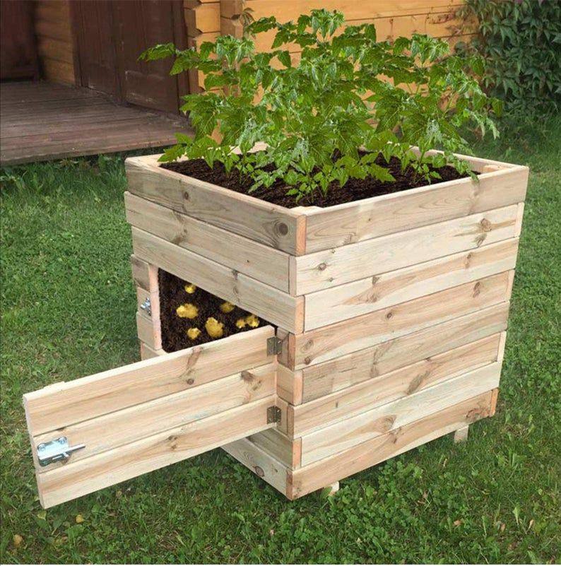 Potato Planter Box Plan, How To Build A Raised Garden Bed With Legs Pdf
