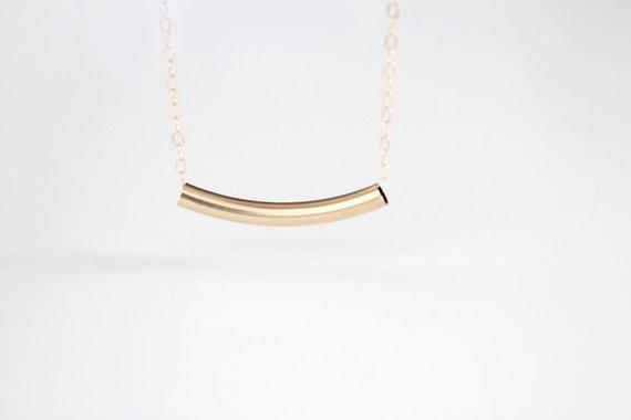 ba28c998d6b6c5 Curved Bar Necklace - 14k Gold Filled or Sterling Silver Bar - Estelle