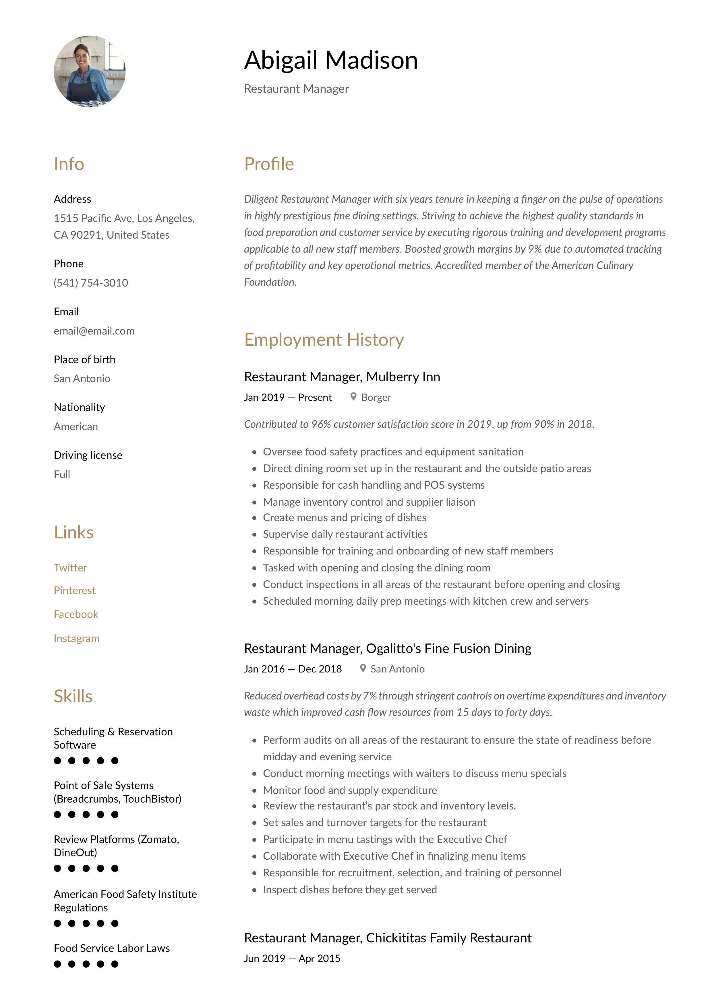 restaurant manager resume template in 2020  restaurant