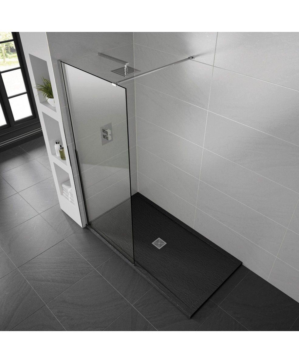 Black Aqualavo 1000mm x 800mm Slate Effect Shower Tray | Bathroom ...