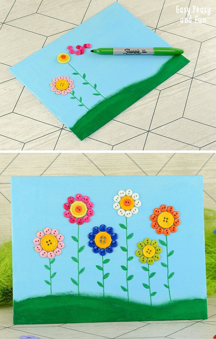 Delightful Button Craft Ideas For Kids Part - 7: Button Flowers Canvas - Easy Peasy And Fun · Art Crafts For KidsFun ...