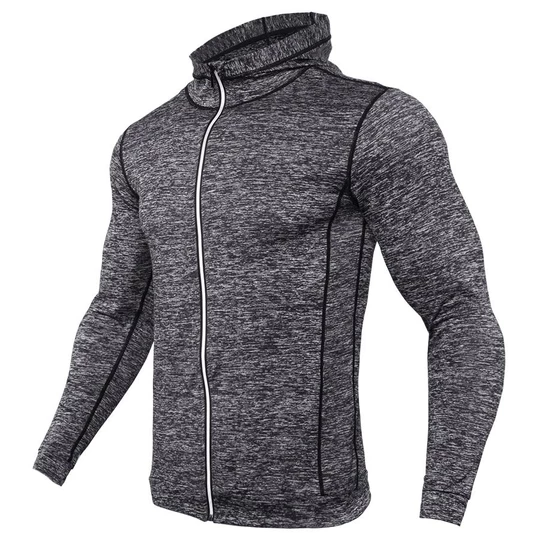 Mens Cycling Running Hooded Jacket Training Tops Zipper Coat Quick Dry Windproof