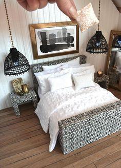Bedroom Suite Modern Miniature 1:12 Dolls House Dressed Rattan Look Bed 10  Piece White Textured Linen Bedding Set Comforter Pillows Mattress