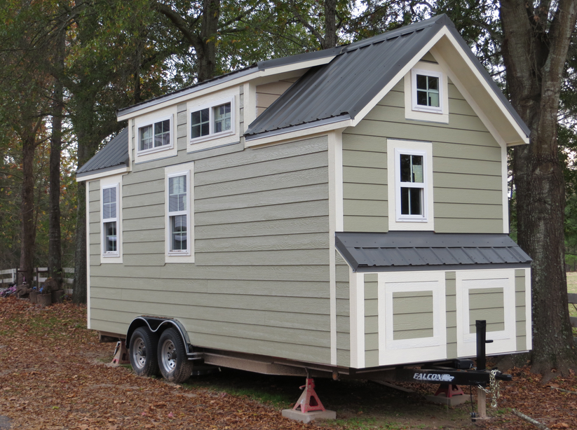 Tiny House On Wheels For Sale Ca Artistic Model With A Large Water Tank Outside Tiny House Exterior Tiny House Australia Tiny House On Wheels