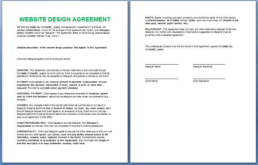Simple Website Development Agreement Pdf Google Search Web Design Contract Contract Template Web Design