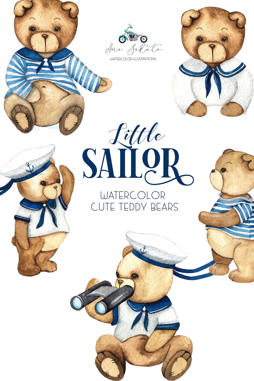 Watercolor Cute Bear Sailor Clipart Little Sailor Teddy Etsy Kids Clipart Teddy Clip Art