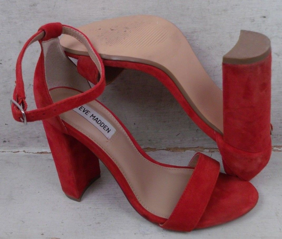 610758652e9 Steve Madden Womens Carrson Red Suede Leather Heels Sandals Shoes ...