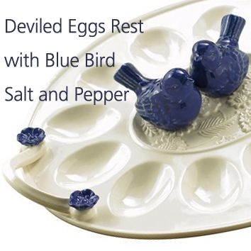 our ceramic egg plate comes with an adorable pair of blue birds to