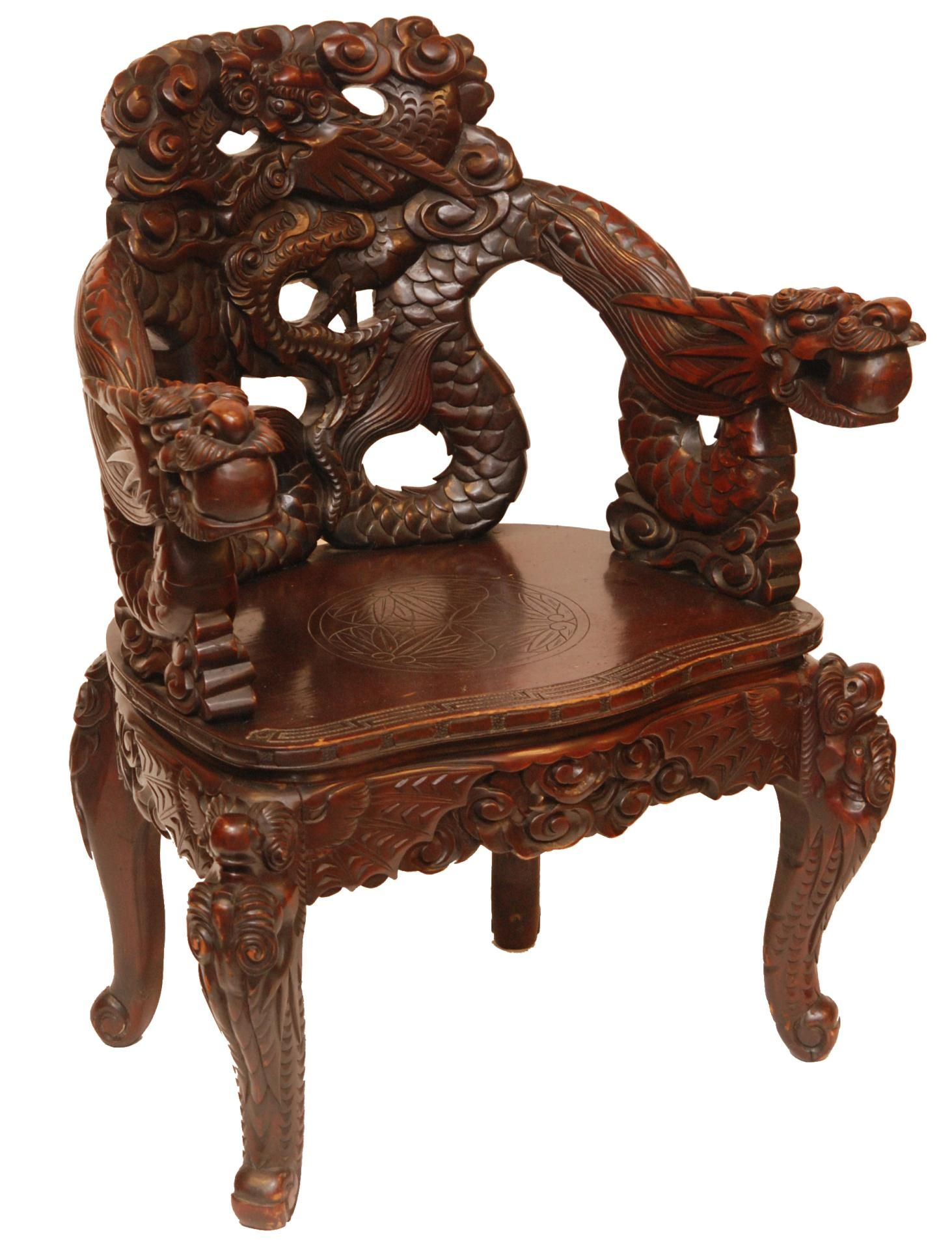 Chinese Wood Carvings 557 Carved Wooden Dragons Chair Hand And Fully