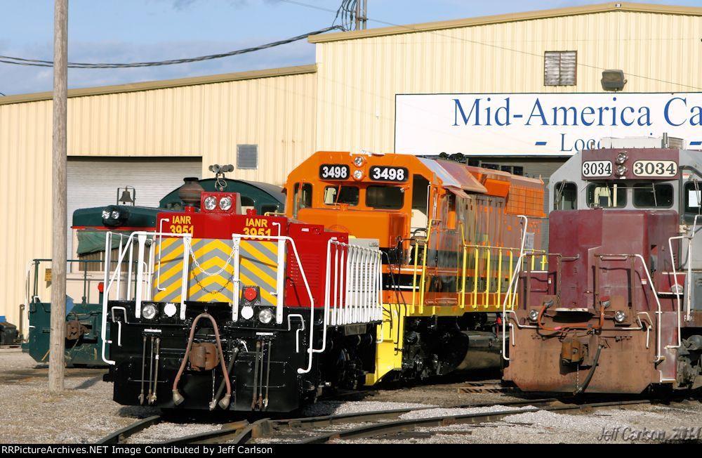 IANR 3951   Description:    Photo Date:  10/5/2014  Location:  Kansas City, MO   Author:  Jeff Carlson  Categories:    Locomotives:  IANR 3951(Road Slug) CORP 3498(SD40-2) CEFX 3034(GP38-2)