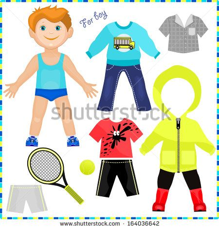 Paper doll with a set of clothes Cute trendy boy Template for