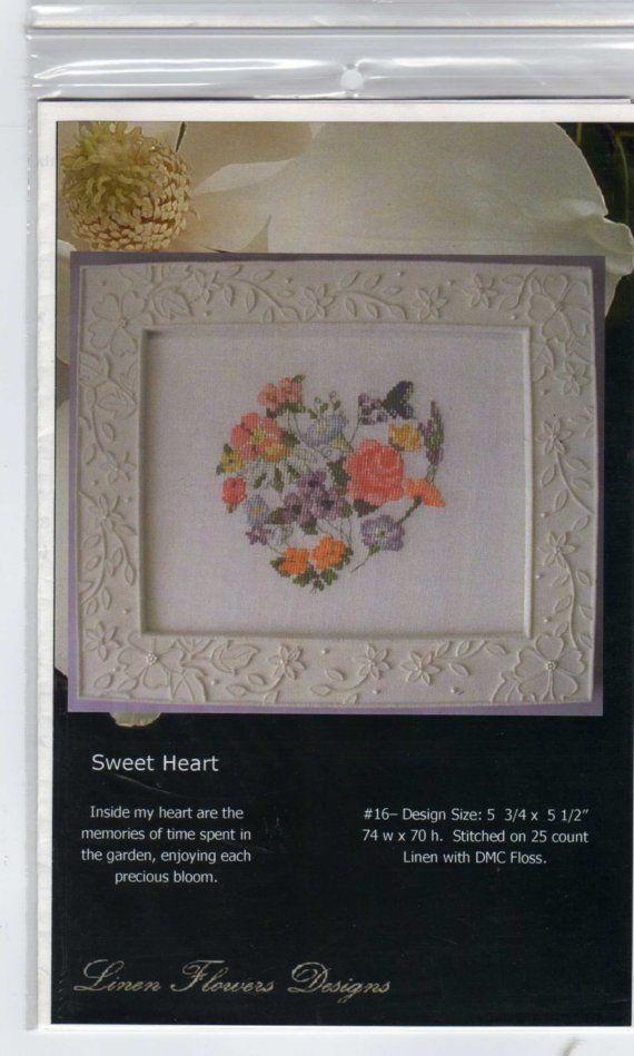 Linen Flowers Designs Sweet Heart Cross Stitch by Creativewings, $5.50