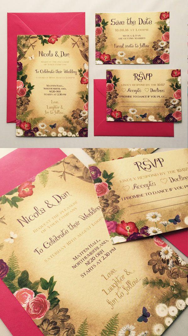 Secret garden theme wedding invitation! Garden