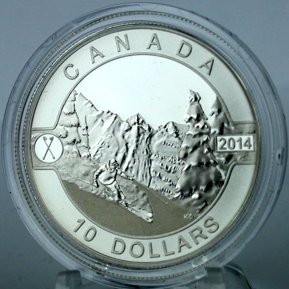 Canada 2014 10 Skiing Canada S Slopes 1 2 Oz 9999 Pure Silver Matte Proof Coin Ebay Coins Coin Design Old Coins