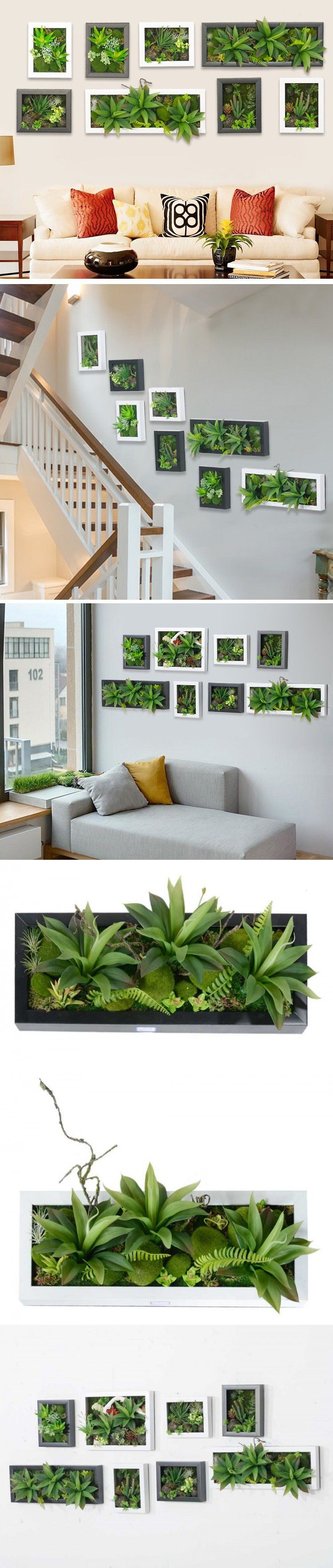 Sticker wall hanger - Hot 3d Artificial Potted Plants Home Decoration Nature Wall Hanger Palor Room Decorative Frame Simulation Wall Sticker