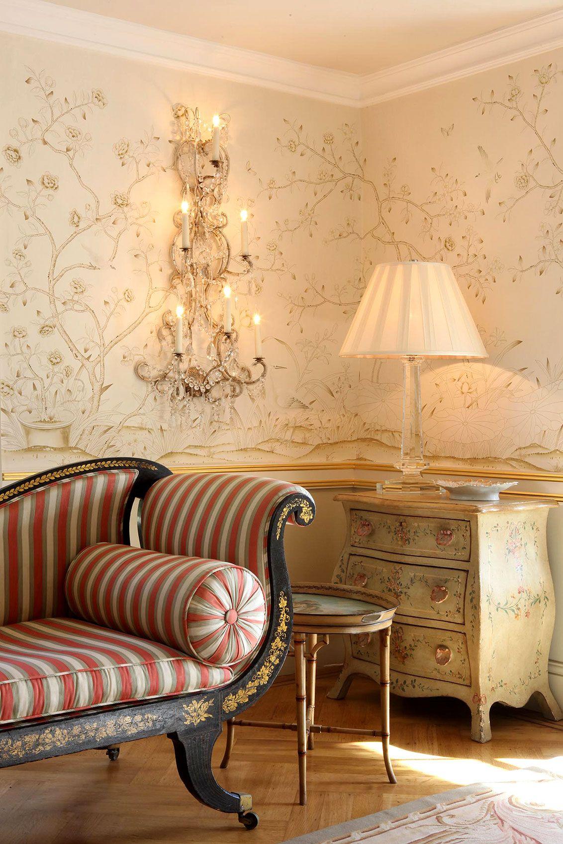 Exklusive Luxus Tapete Wohnzimmer Blumen Motiv beige creme auf weiß ...