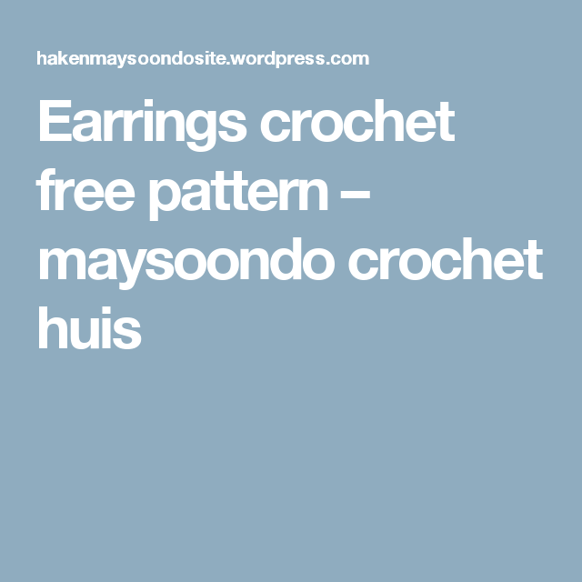 Earrings crochet free pattern | AROS | Pinterest | Aritos, Deberes y ...