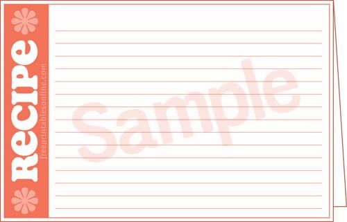 Free Printable Lined Double sided recipe card tenplates Recipe - double recipe cards