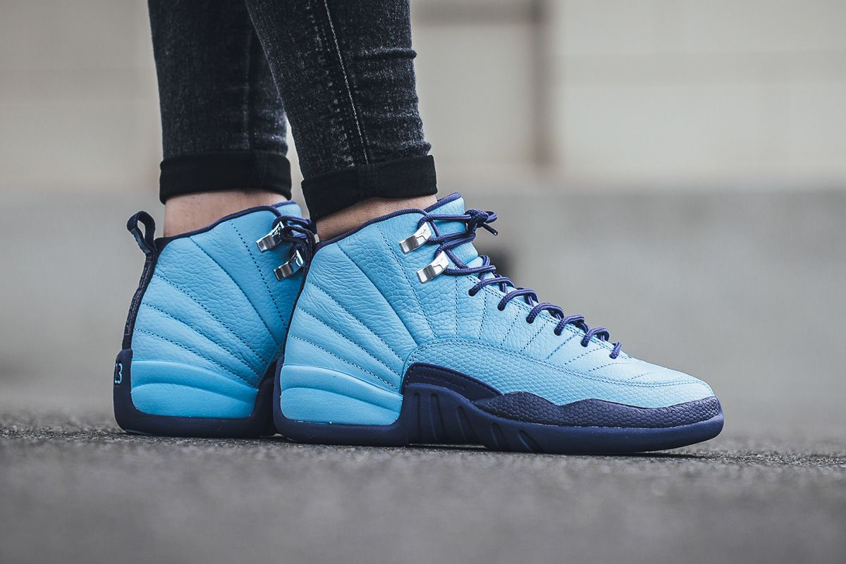 fe34e880a21 510815 418 01 On Foot  Girls Air Jordan 12 Retro Bluecap   Dark Purple Dust  eukicks