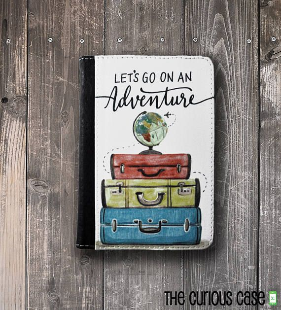 passport holder cover lets go on an adventure watercolor globe