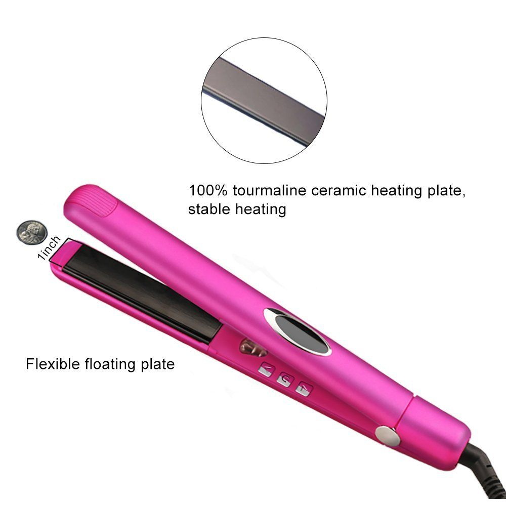 Flat Iron Professional Digital Tourmaline Hair Straightener Negative Ionic Anti Static 1 Inch With C Tourmaline Hair Straighteners Hair Straightener Hair Care