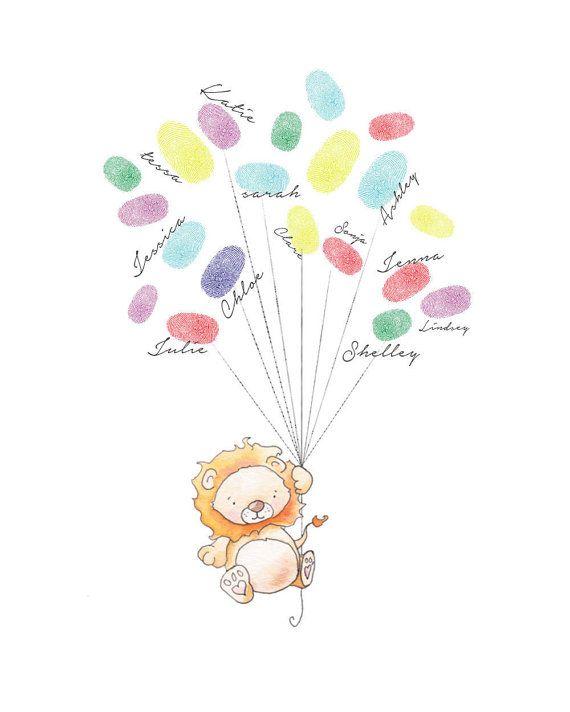 baby shower fingerprint balloons lion baby by brilliantcritter baby pinterest taufkarte. Black Bedroom Furniture Sets. Home Design Ideas