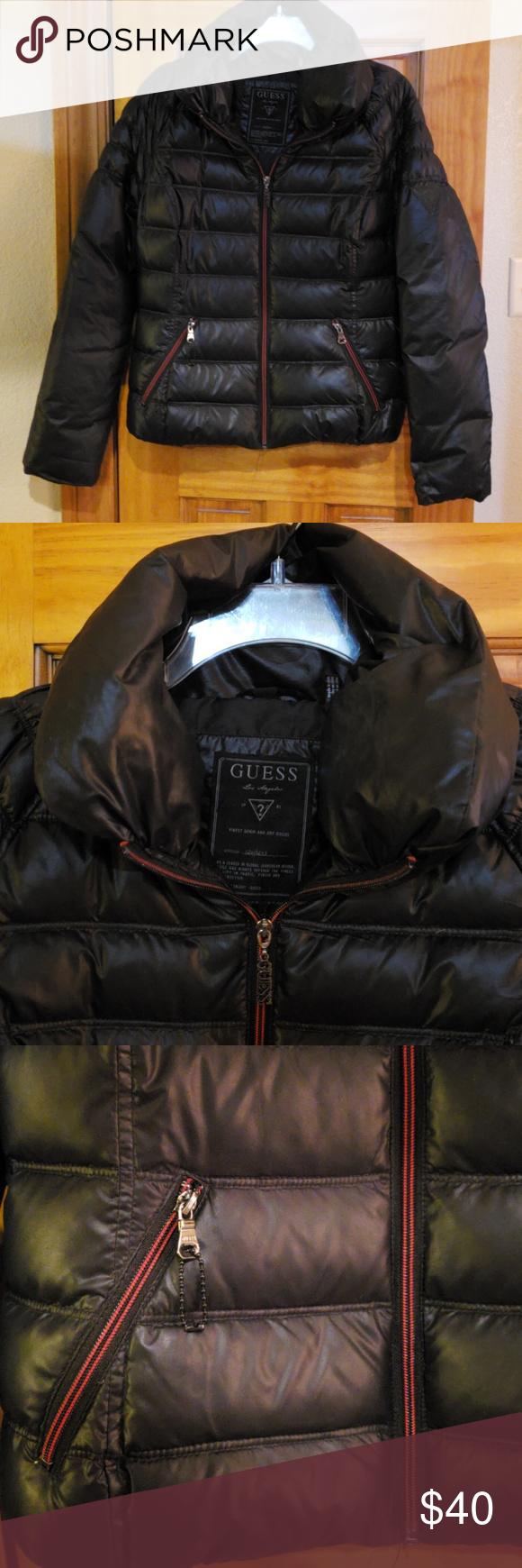 Guess Puffer Jacket With Red Zipper Puffer Jackets Black Puffer Jackets [ 1740 x 580 Pixel ]