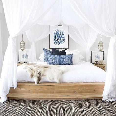 BoHo Bedroom In White With Coastal Blue Accents