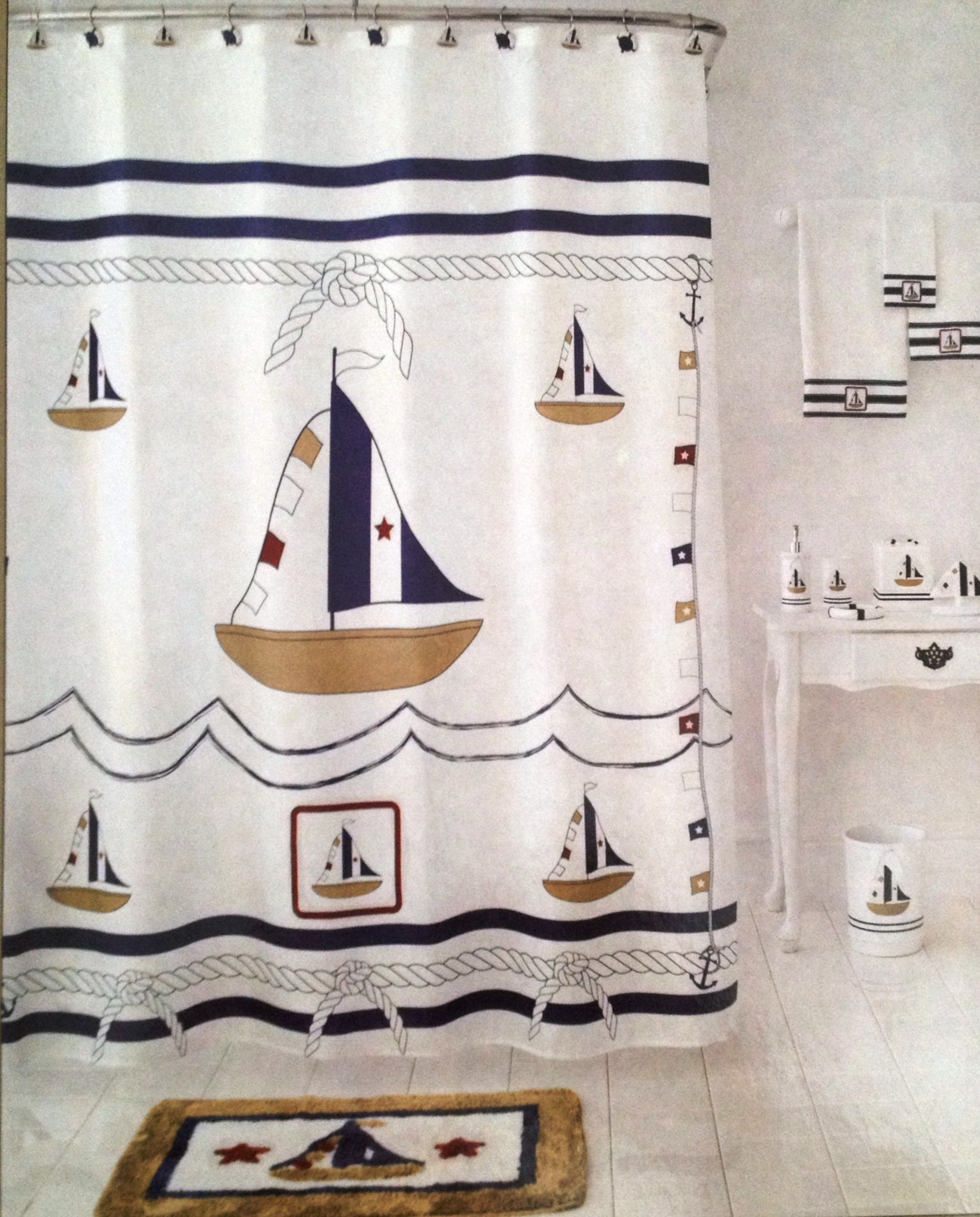 Homewear Sail Away Shower Curtain Sailboat Nautical Theme