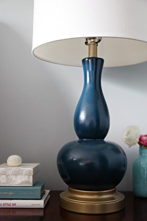 Iheart Organizing A Bright Idea In The Bedroom Spray Paint Lamps Painting Lamps Lamp Makeover