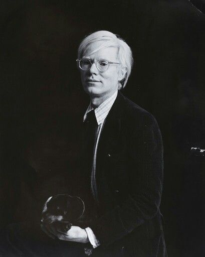 Andy Warhol Portrait, black and white photo.