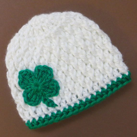 St Patricks Day crochet beanie hat for baby or toddler - lucky four ...