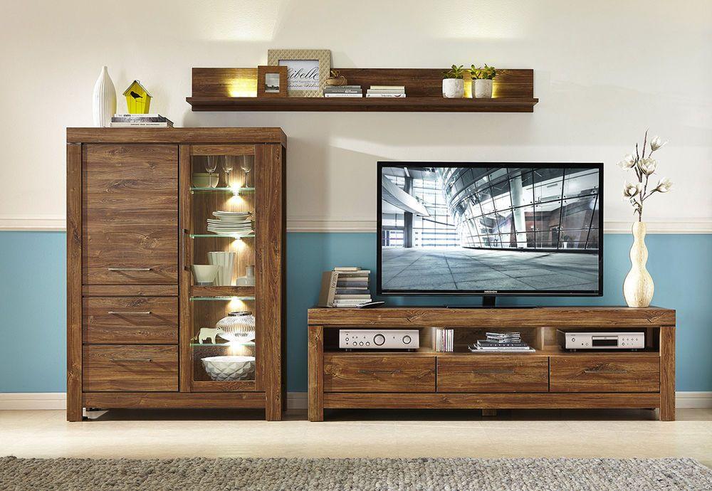 New Wall Unit Wood Effect Lighting Brand Living Room Furniture
