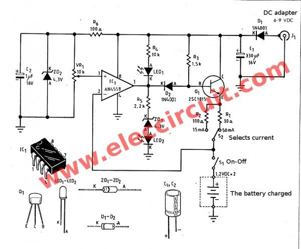 simple nimh nicd battery charger circuit with pcb