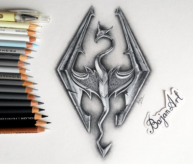 3d skyrim logo drawing by bajan art