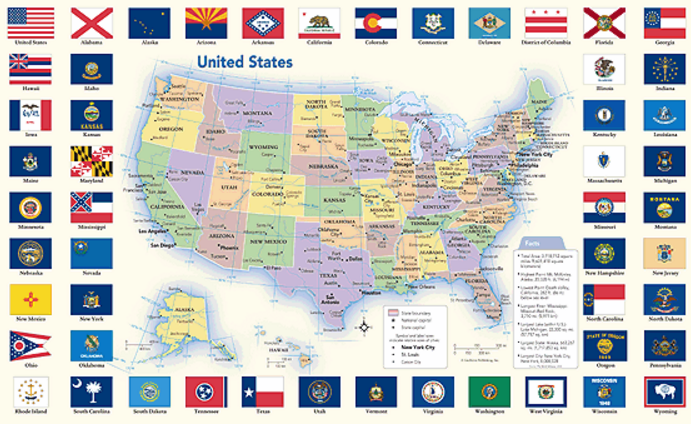Education Classroom Decor Geography History This Political - Political map united states