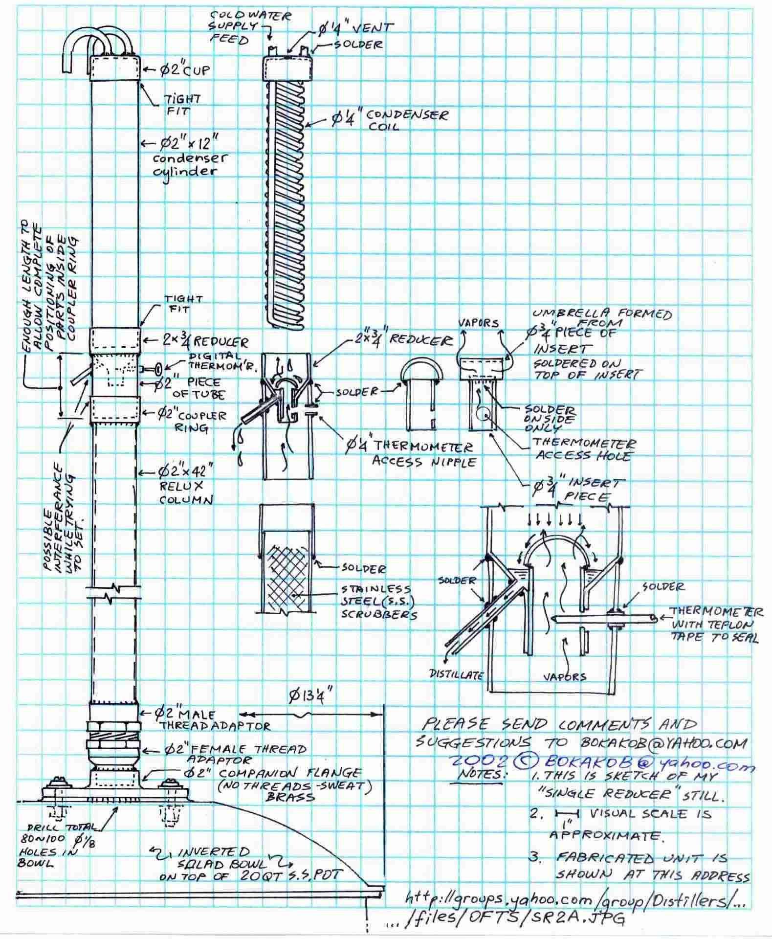 Bokakob Http Homedistiller Org Image Drawing 11 Single Reducer Sr Jpg Distillation Homemade Alcohol Still Spirits