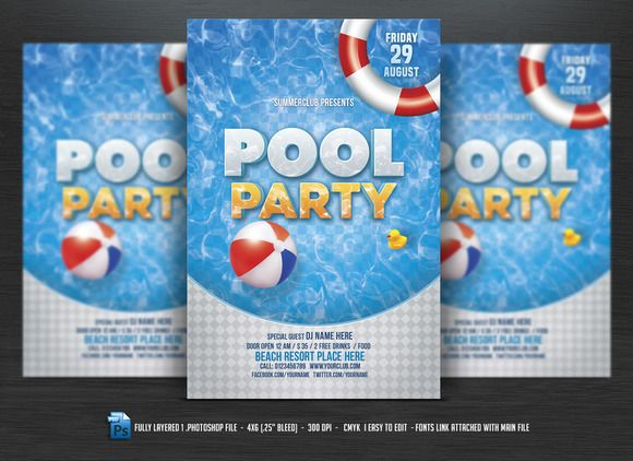 Pool Party Flyer  Party Flyer Flyer Template And Fonts