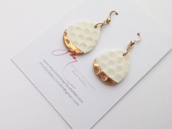 Honeycomb earrings – Porcelain and gold | Everyday drop earrings | Ceramic jewelry earring | Drop earrings for woman | Israeli jewelry