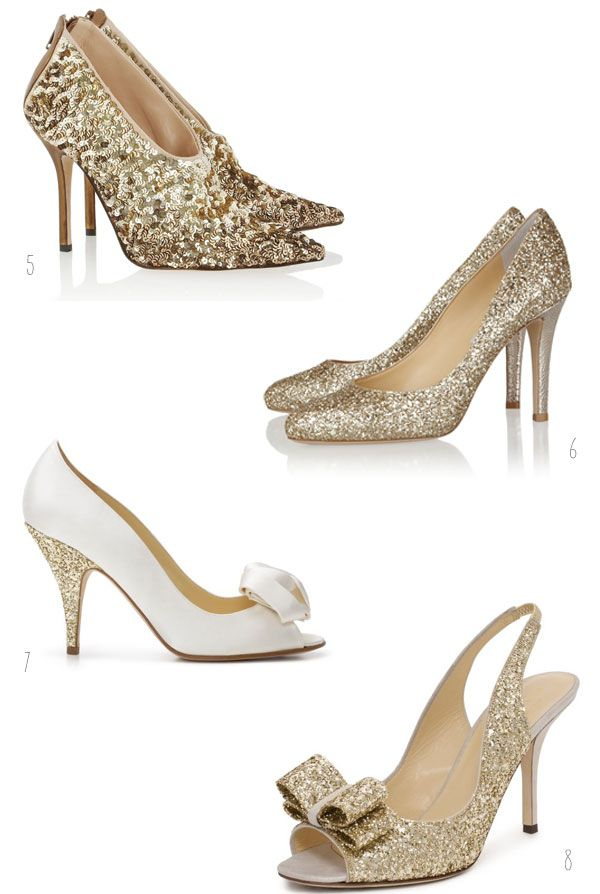 Gold And Glitter Wedding Shoes